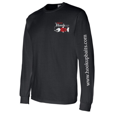Hookup Baits Black Long Sleeve Cotton Shirt