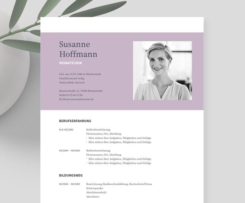 Bewerbungsvorlage »NAPEA Lavendel« inklusive eBook und Videoanleitungen   Für Word, Pages, OpenOffice und LibreOffice