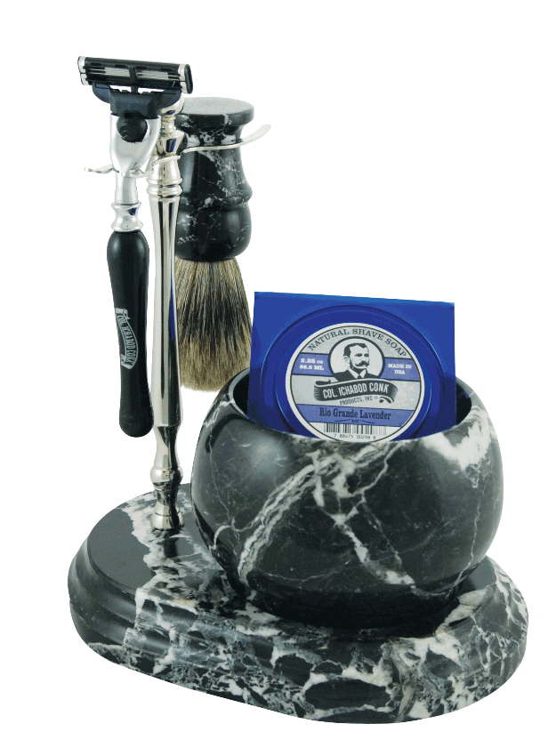 5pc. HAND CRAFTED MARBLE SHAVE SET  in Black (Zebra) #251B/C