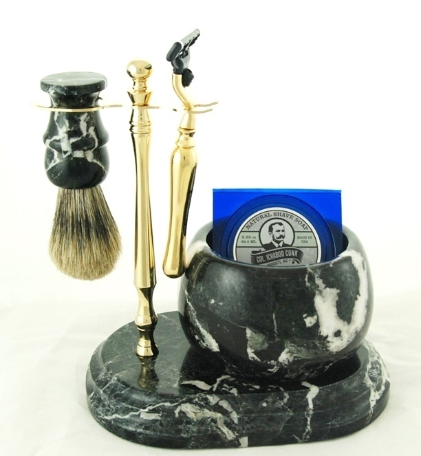 5pc. HAND CRAFTED MARBLE SHAVE SET  in Black (Zebra) #251G