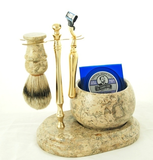 5pc. HAND CRAFTED MARBLE SHAVE SET in Fossil #250G