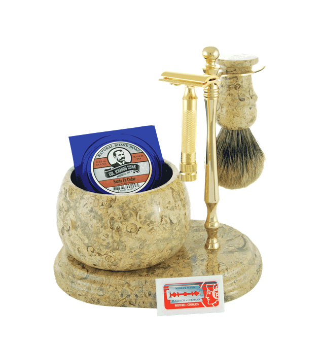 6pc. HAND CRAFTED MARBLE SHAVE SET in Fossil #250G-DE