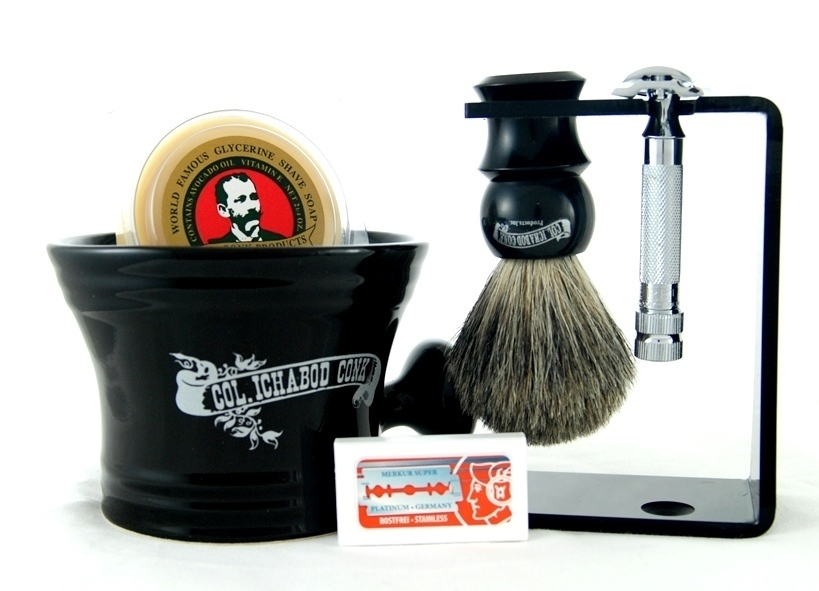 DE SHAVE SET 6PC. with Blk Multi Function Stand #297