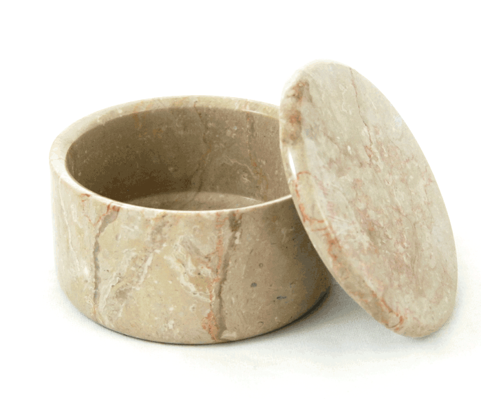 LARGE COVERED MARBLE BOWL  in Fossil #182F