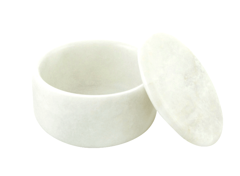 LARGE COVERED MARBLE BOWL in Opaque White #182WM