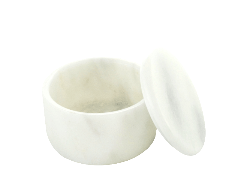 SMALL COVERED MARBLE BOWL in Opaque White #165WM