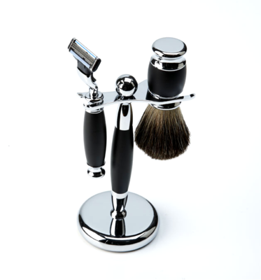 BLACK & CHROME SHAVE SET #1083