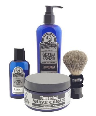UNSCENTED 4PC SHAVE KIT with Cream & Brush #4014
