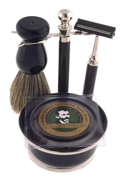 BLACK & CHROME SHAVE SET #243