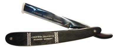 DOVO SHAVETTE STRAIGHT RAZOR STAINLESS TOP WITH EBONY HANDLE #1061