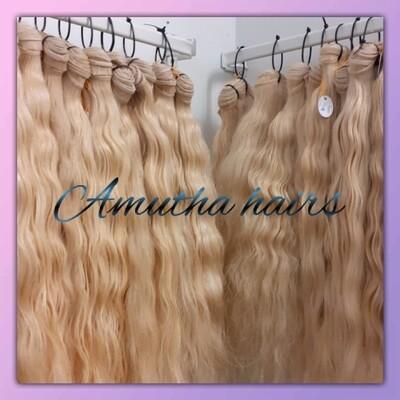 INDIAN  BLOND HAIR EXTENSION  MACHINE WEFT HAIR