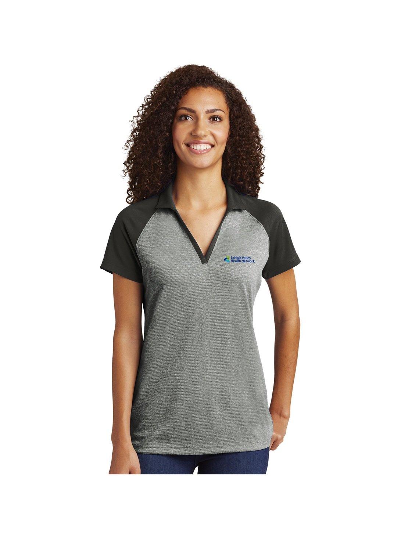 Sport-Tek® Ladies PosiCharge® RacerMesh® Raglan Heather Block Polo