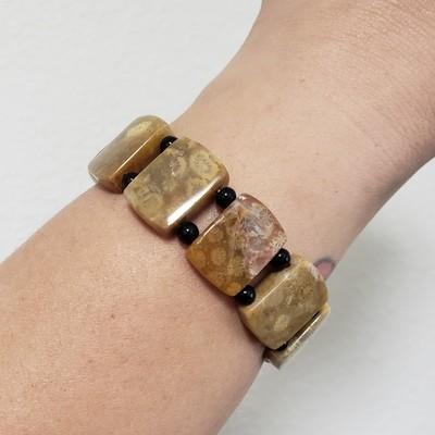 Fossilized Coral Bead Bracelet