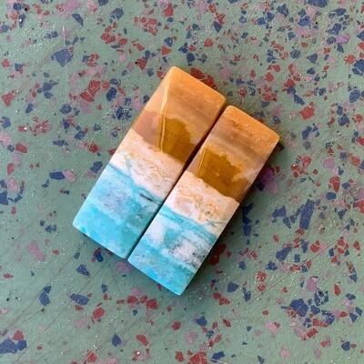Indonesian Blue Opal Petrified Wood Earring Set