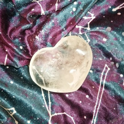 Clear Quartz Heart Palm Stone