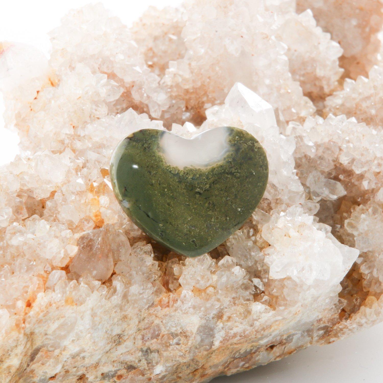 Moss Agate Heart Cabochon
