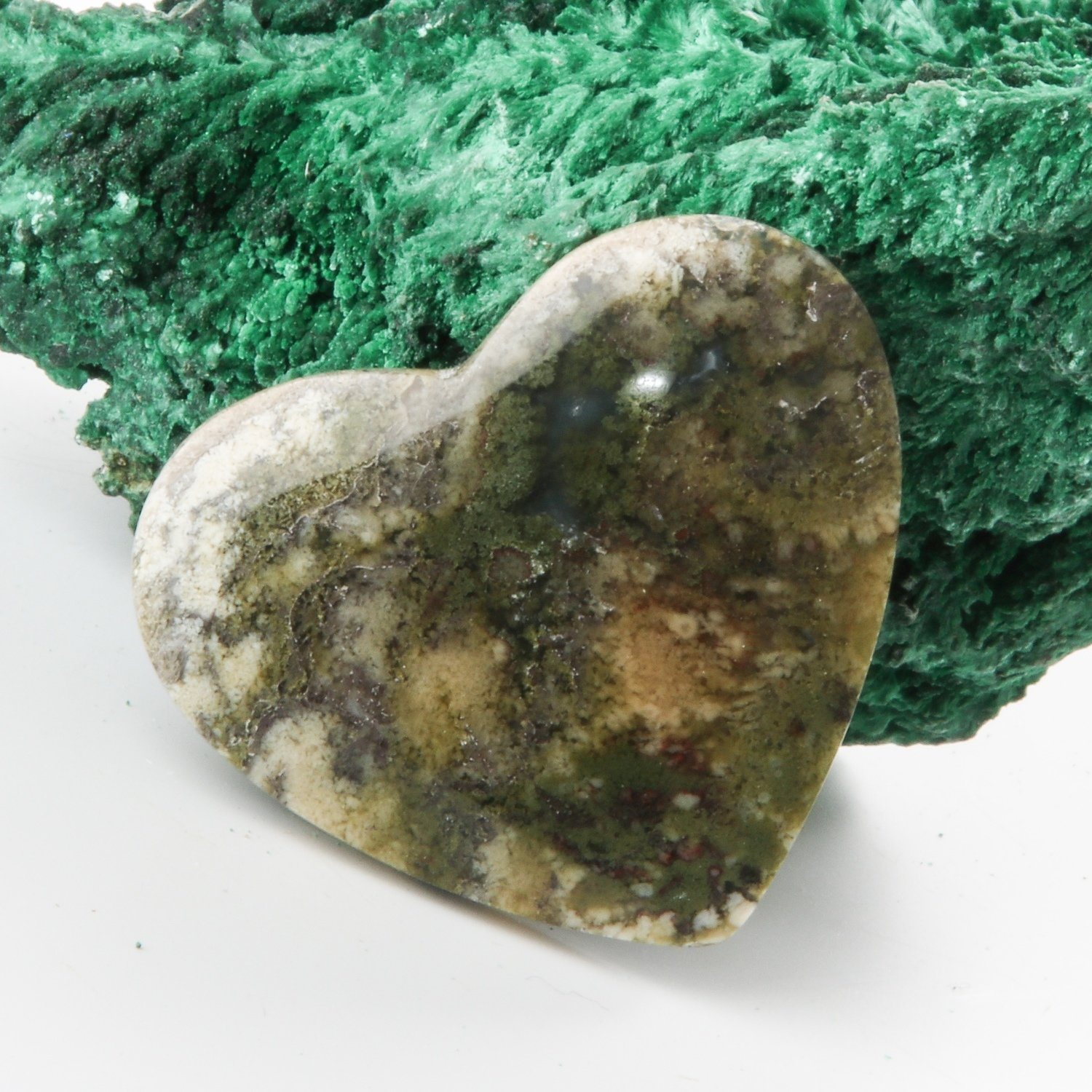 Heart Shaped Moss Agate Cabochon