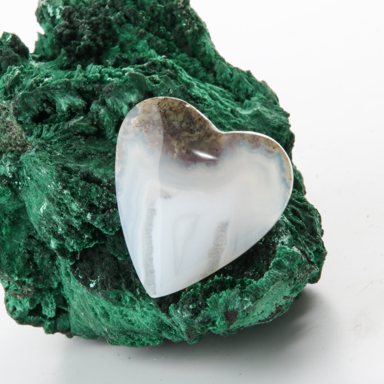 Heart Shaped Moss Agate Cabochon