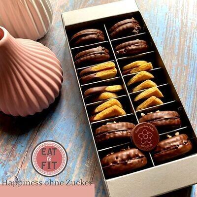 3 Flavors - Low Carb und Zuckerfreie Kekse. Box 28er Schokokrock - Vanille - Kakao Xtreme