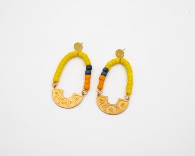 IV by David Quarles: Brass Shapes Earrings