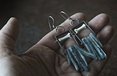 Carin Jones: Apatite and Mink Bone earring