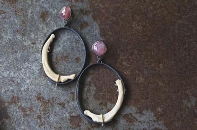 Carin Jones: Pink Sapphire, Mink rib Hoops