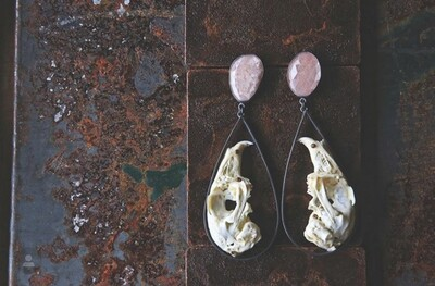 Carin Jones: Rabbit Skull and Moonstone Earrings
