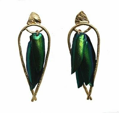 Lingua Nigra: Arched Seasons - Enclosed Beetle Wing Earrings