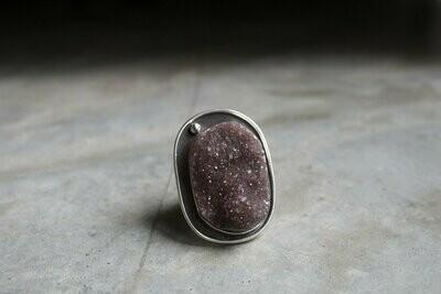Charity Poole: Lavender Druzy Quartz Ring