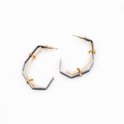 Carin Jones: Rat Jawbone Sterling Hoops