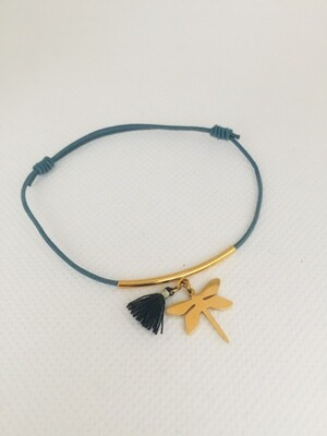 Blauw met metaal libelle