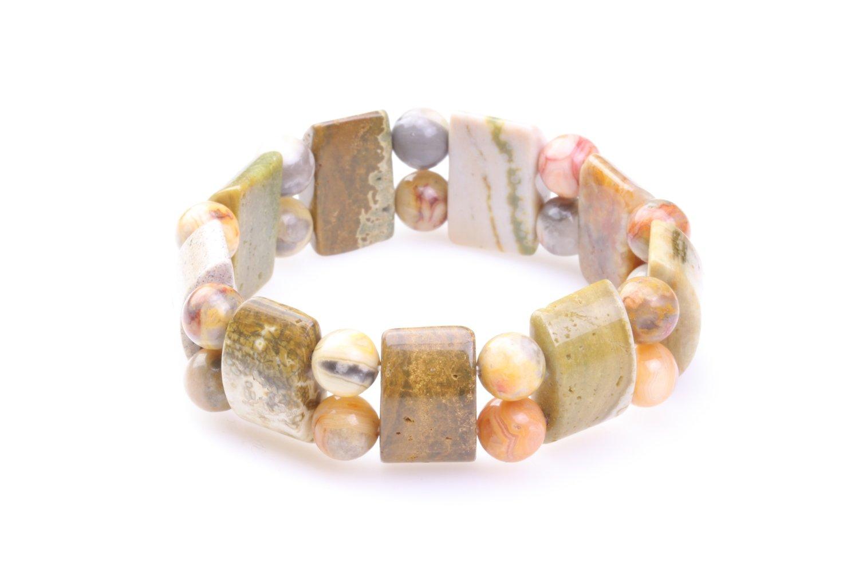Brede natuursteen armband