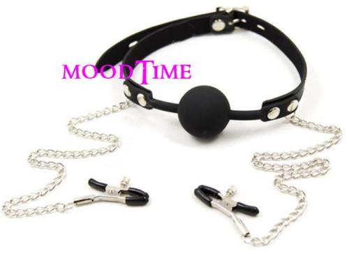 Mouth ball gag with nipple clamps | moodTime