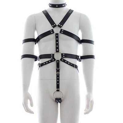 Fetish Full Body Harness With Double Arm Cuffs | moodTime