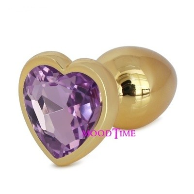 Gold Stainless Steel Heart Shape Butt Plug With Jewel Large | moodTime