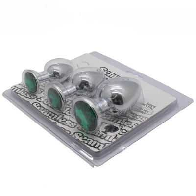 3pcs Round Stainless Steel Jewel Anal Plug S+M+L   moodTime
