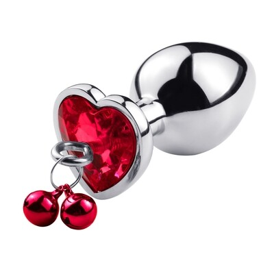 Stainless Steel Heart Butt Plug With Jewel and Bells (L) | moodTime