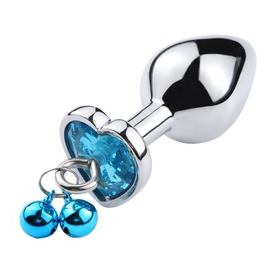 Stainless Steel Heart Butt Plug With Jewel and Bells (S) | moodTime