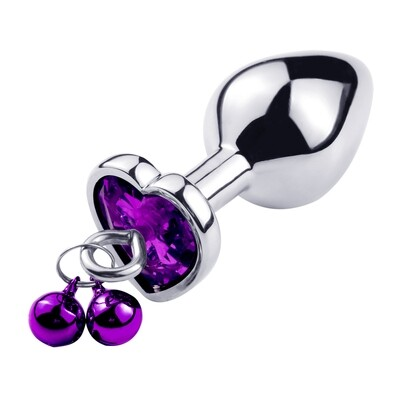 Stainless Steel Heart Butt Plug With Jewel and Bells (M) | moodTime