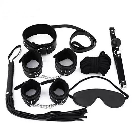 7 Pcs Sex Set Whip, Mouth Plug, Eye Cover, Nipple Clips, Handcuffs, Collar, Cotton Rope   moodTime