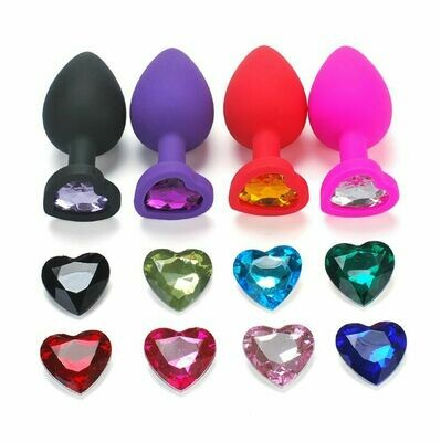 Silicone Heart Jewel Butt Plug Large | moodTime
