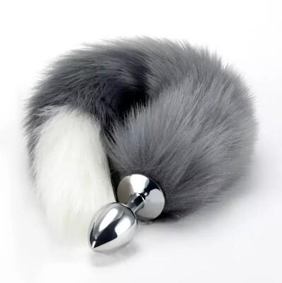 Grey Metal Anal Butt Plug Fox Tail   moodTime