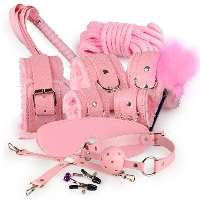 10pcs SM Bondage Roleplay Sex Kit Pink | moodTime