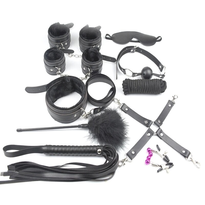 10pcs SM Bondage Roleplay Sex Kit Black | moodTime