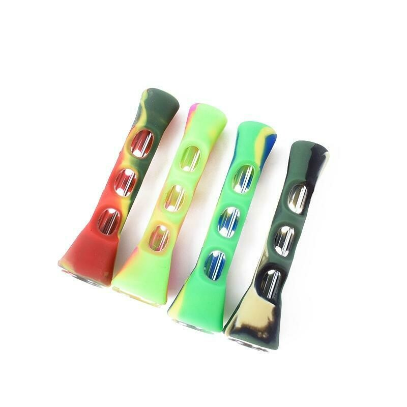 Glass Smoking Pipe With Silicone Cover Weed Pipe  | moodTime