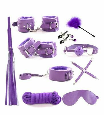 10pcs SM Bondage Roleplay Sex Kit Purple | moodTime
