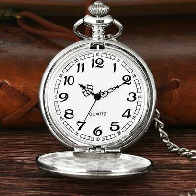 Classic Smooth Steel Pocket Watch - Silver | moodTime