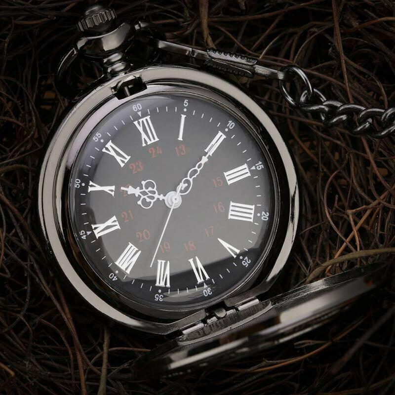 Black Steampunk Pocket Watch   moodTime
