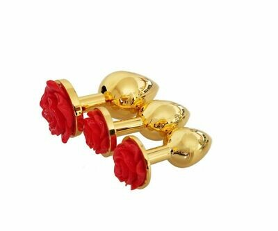 Gold Steel Rose Shape Butt Plug Anal Plug (L) | moodTime