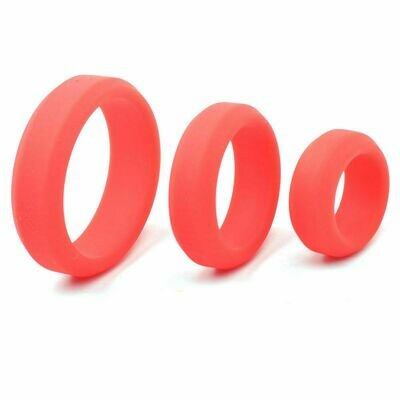 Silicone Triple Cock Ring Set Red | moodTime